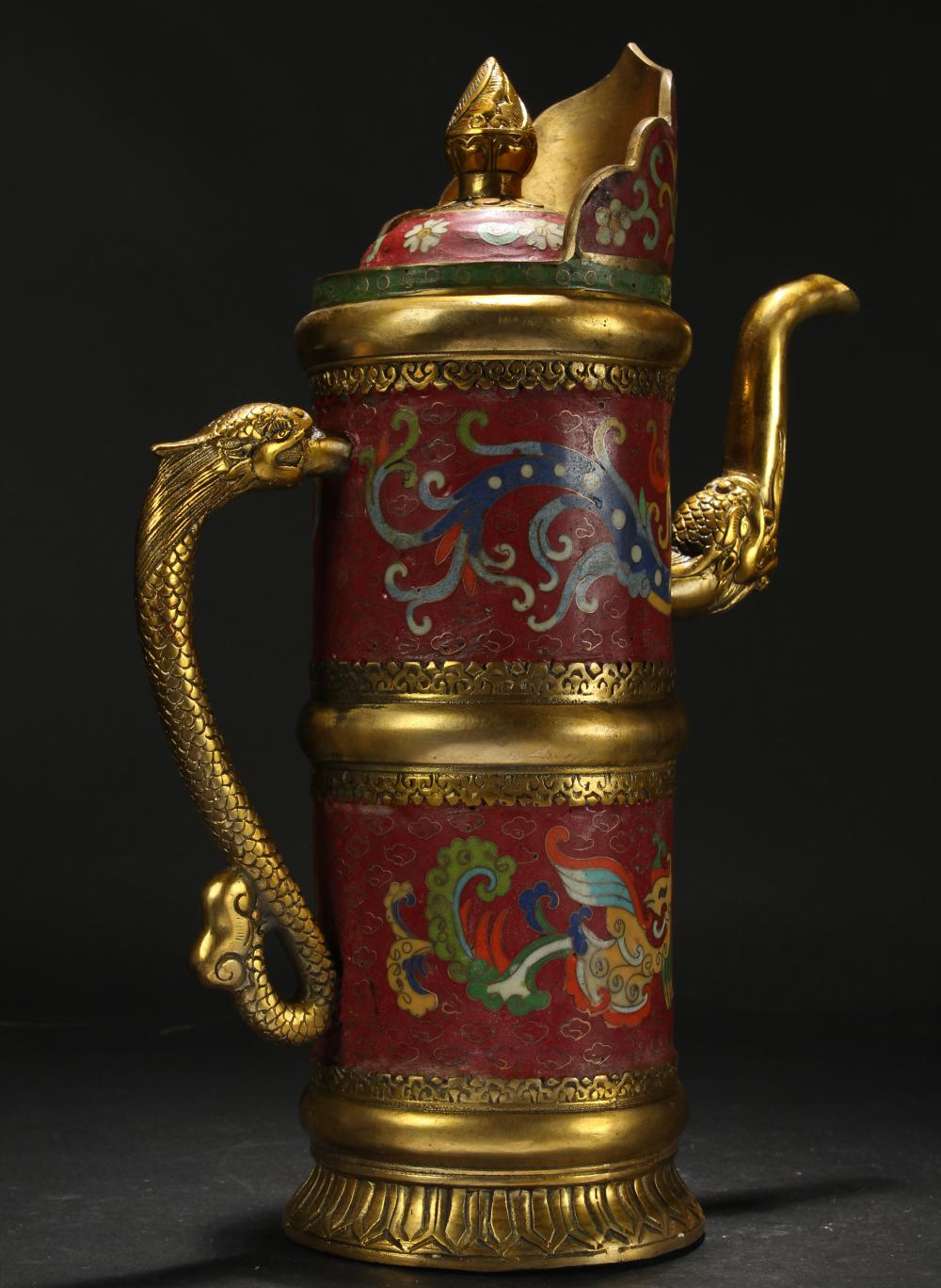 An Estate Chinese Dragon-decorating Cloisonne Ewer Display
