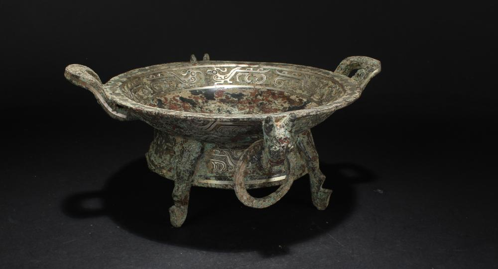 A Chinese Anicent-framing Tri-podded Bronze Vessel Display