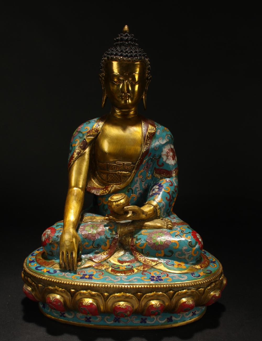 A Chinese Loctus-seated Cloisonne Buddha Display