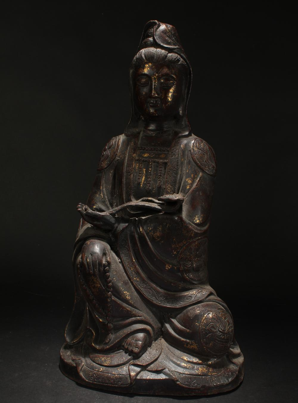 An Estate Chinese Gilt-dotted Massive Buddha Statue Display