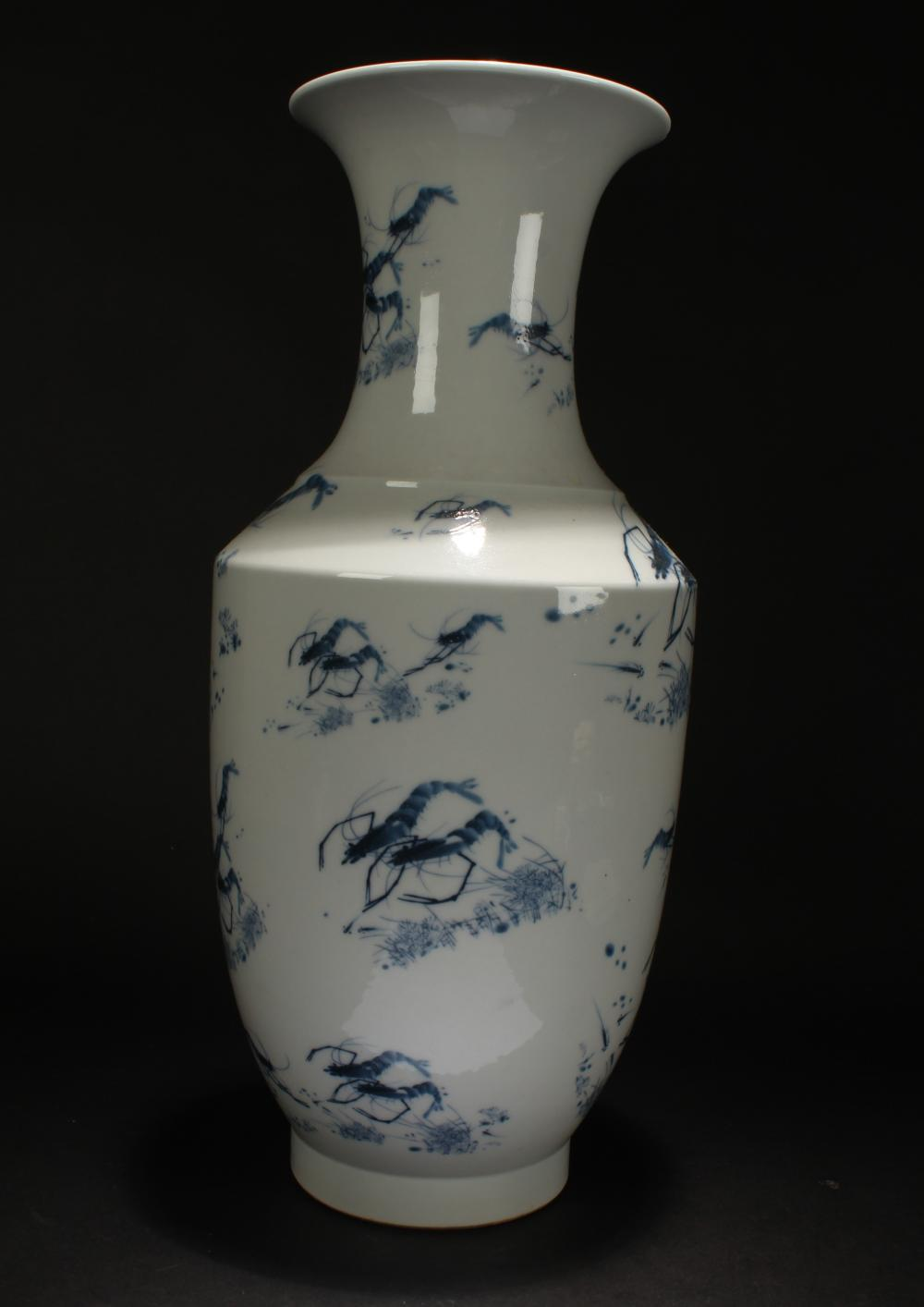A Chinese Shrimp-portrait Estate Blue and White Porcelain Vase