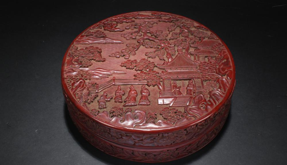 A Chinese Circular Story-telling Fortune Lacquer Box