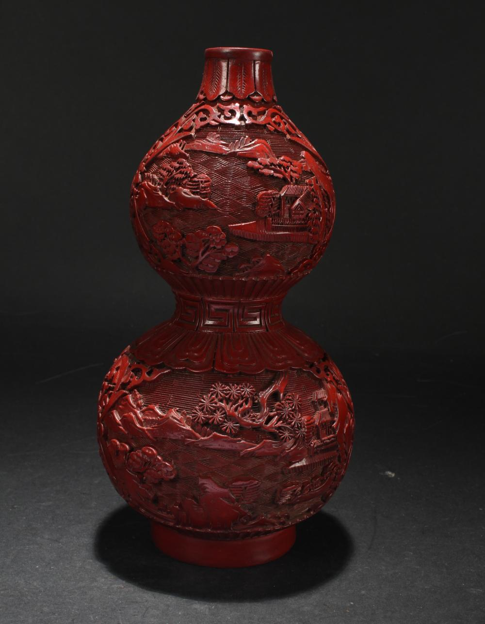 A Chinese Calabash-shape Estate Fortune Lacquer Vase