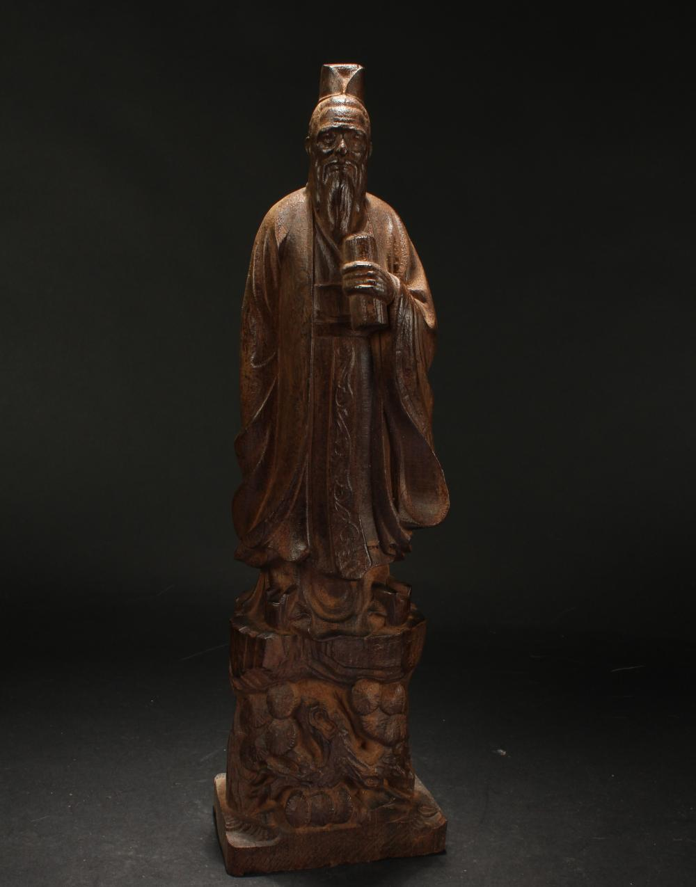 A Chinese Wooden Fortune Confucius Statue