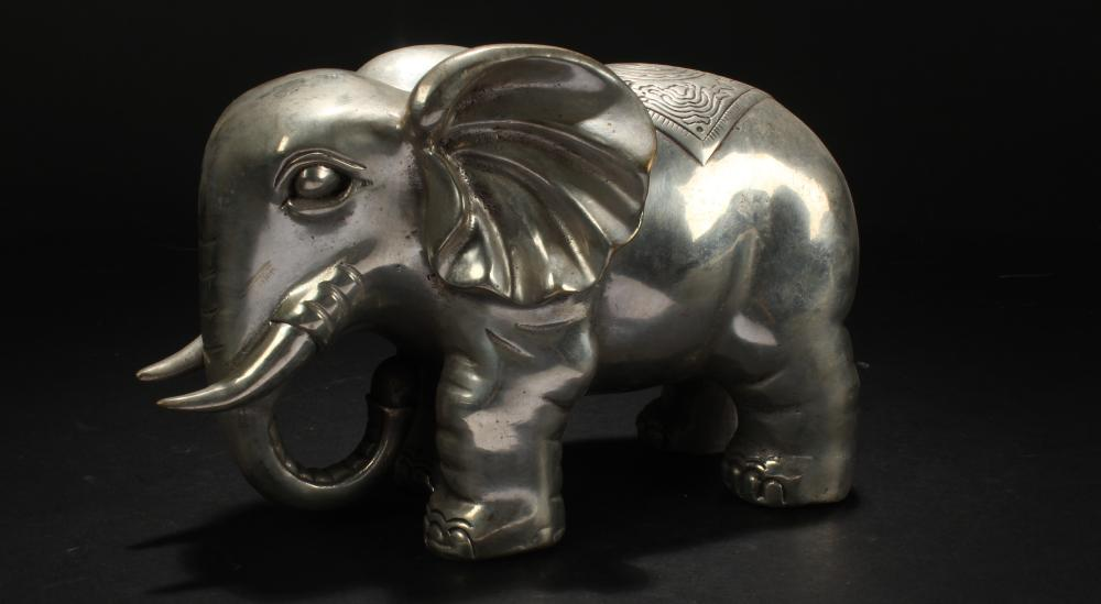An Estate Chinese Elephant-fortune Statue Display