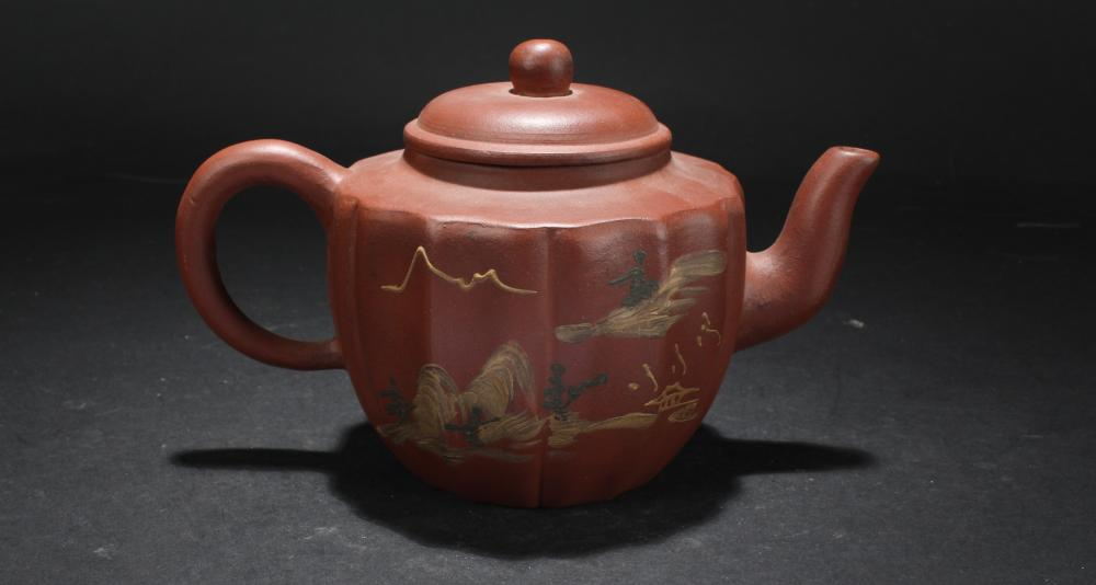 An Estate Chinese Mountain-view Display Tea Pot