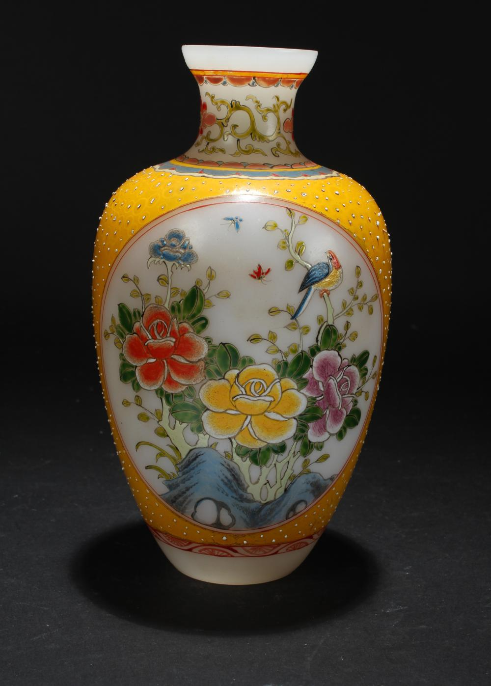 A Chinese Windowed-Fortune Overlay Display Vase