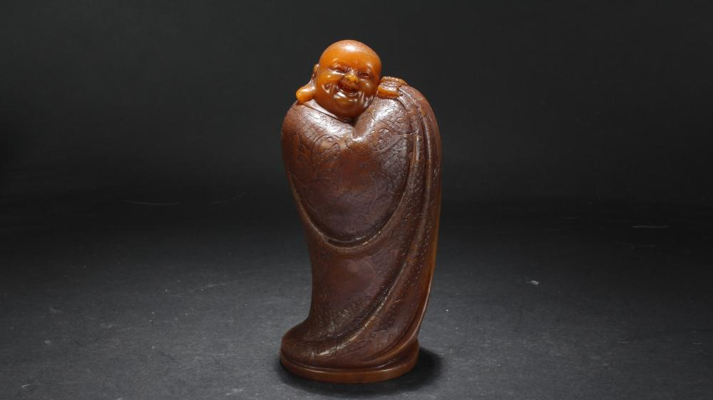 A Chinese Happy-buddha Fortune Soapstone Statue Display