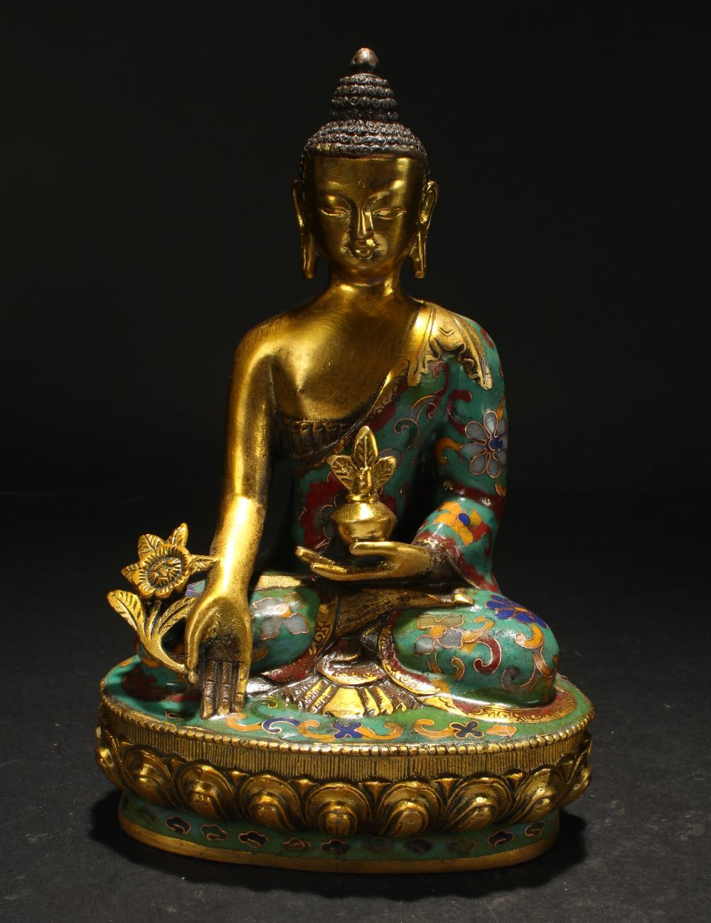 An Estate Religious Lotus-seated Cloisonne Statue Display