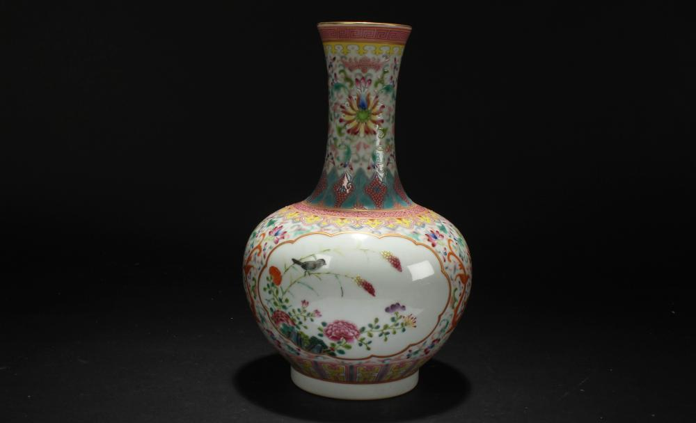 A Chinese Spring-fortune Windowed-fortune Porcelain Vase