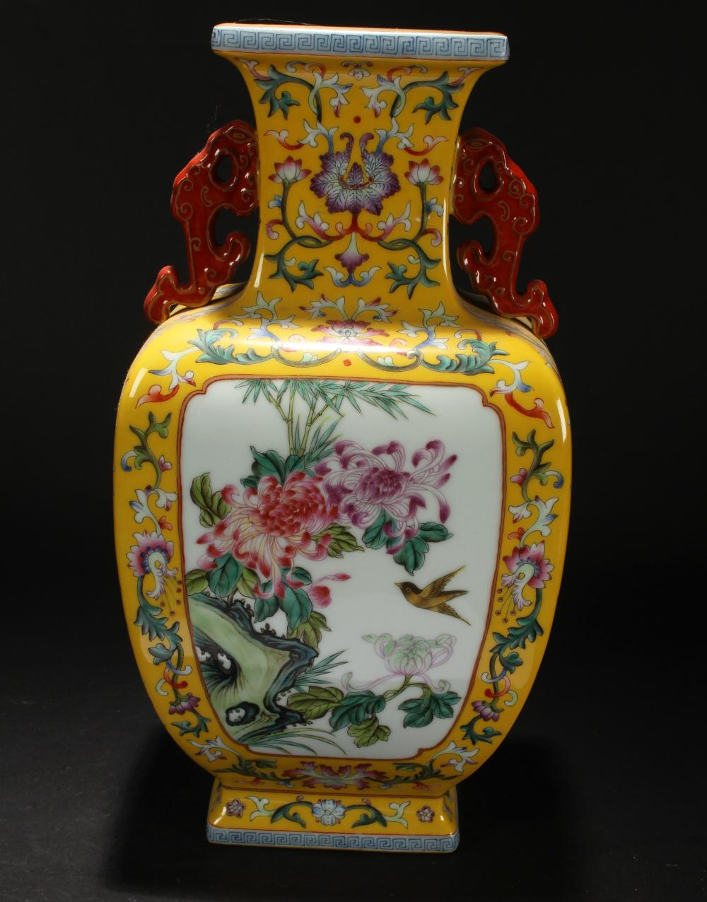 A Chinese Nature-sceen Estate Duo-handled Yellow Porcelain Vase