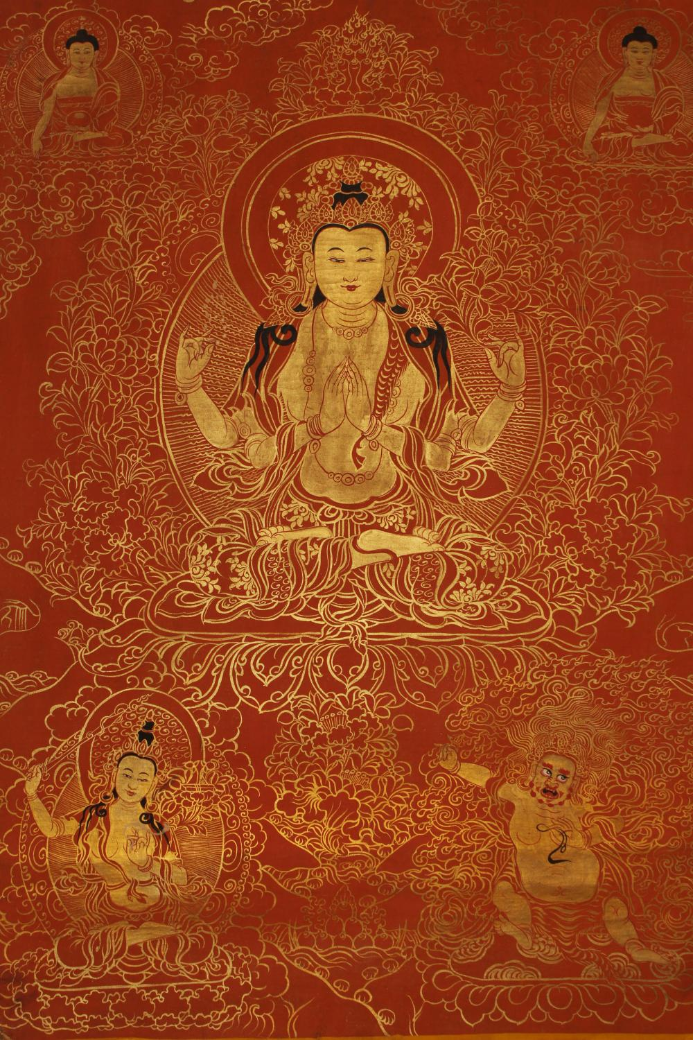 A Tibetan Religious Buddha-fortune Display Thangka