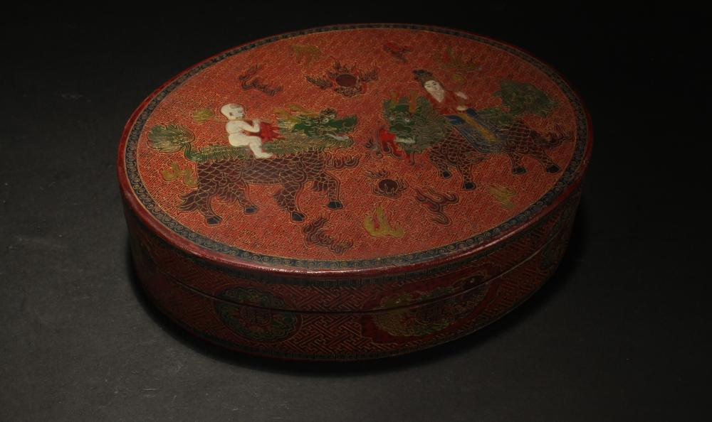 A Chinese Story-telling Fortune Lacquer Box Display