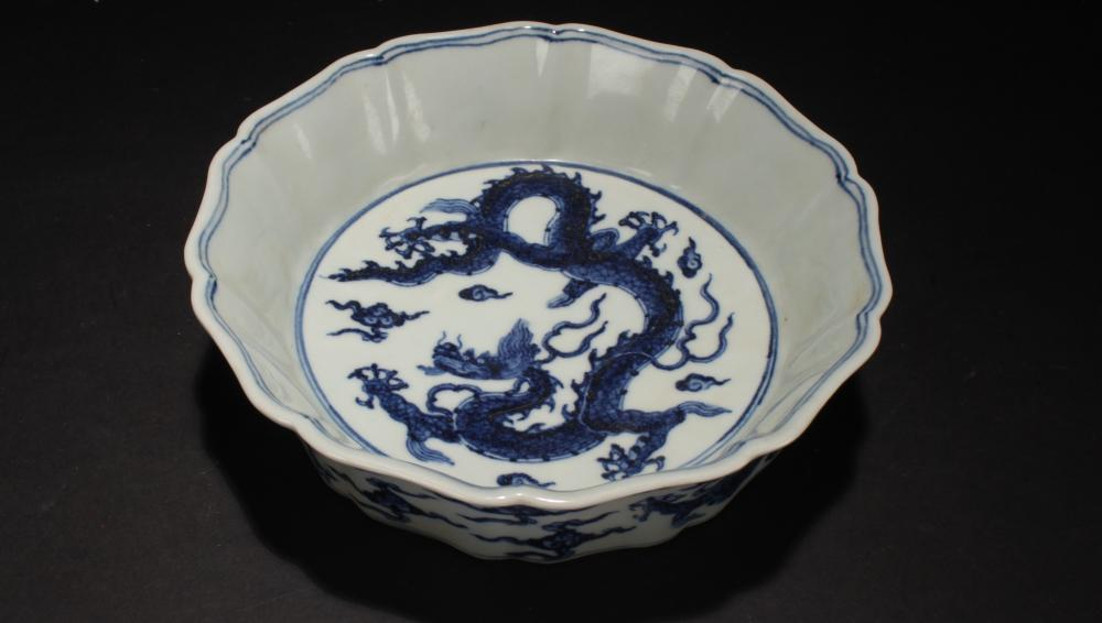 A Chinese Flat-opening Dragon-decorating Blue and White Porcelain Bowl