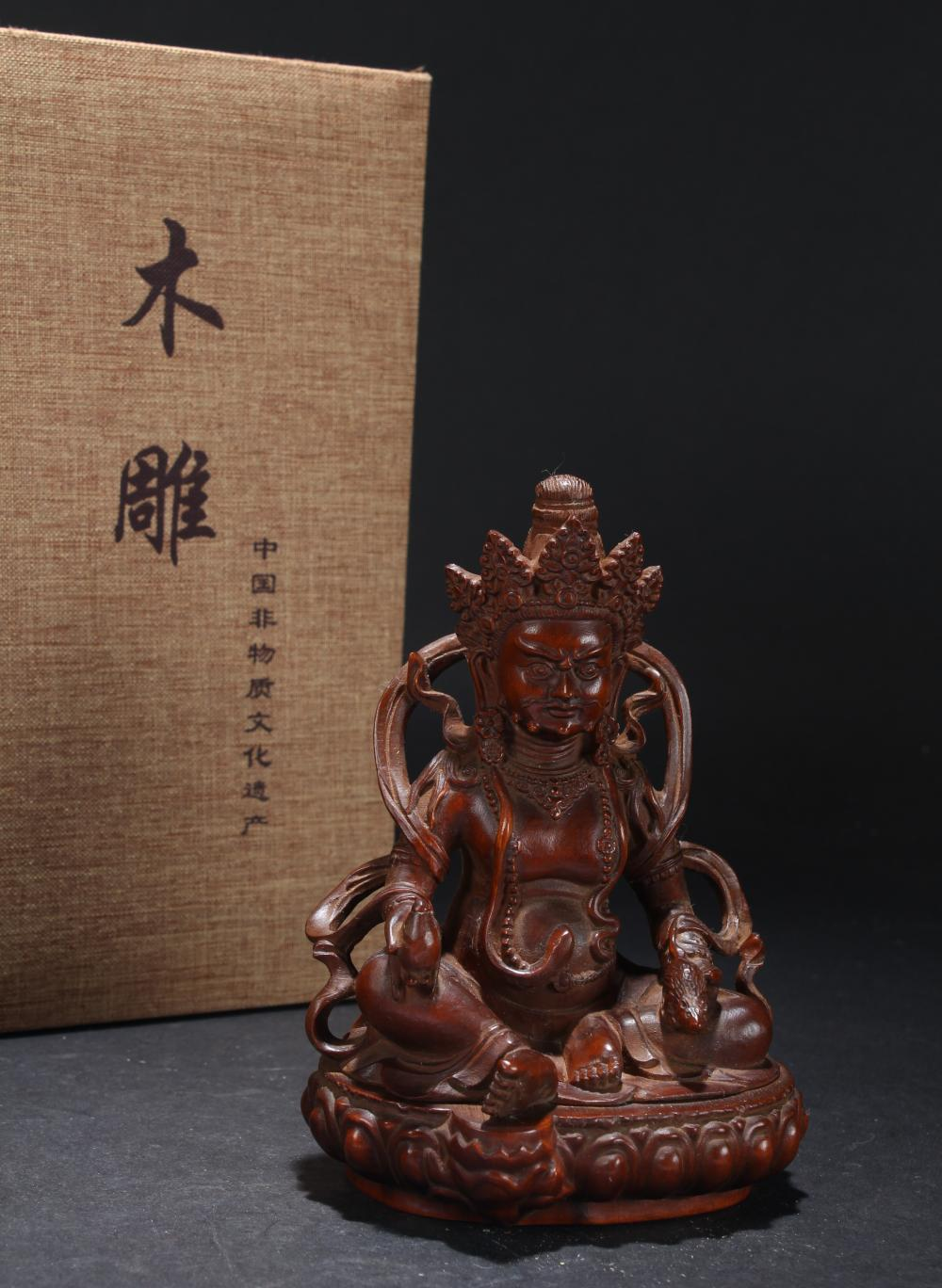 An Estate Tibetan Seated Buddha Statue Display