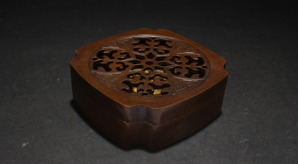 A Chinese Lidded Square-based Estate Display Censer