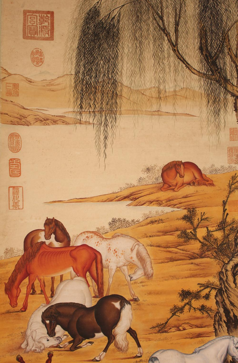 Lot 2: An Estate Chinese Empire-detailed Horse-fortune Scroll