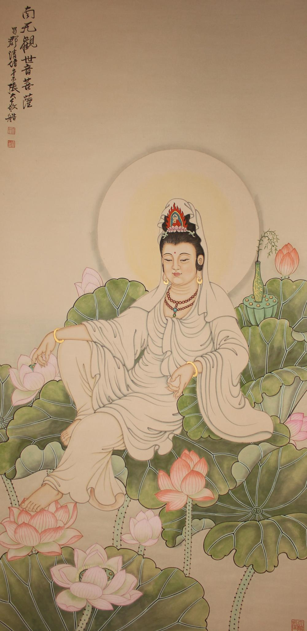 A Chinese Peaceful-pose Estate Detailed Guanyin Scroll Display