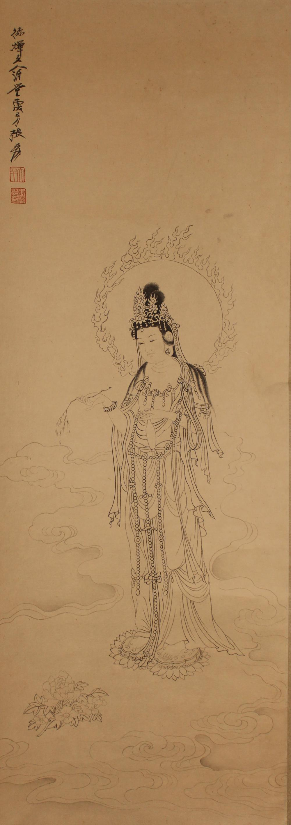 A Chinese Abstract-style Poetry-framing Guanyin Display Scroll