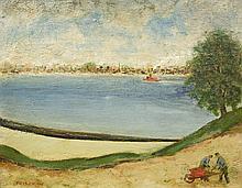 FRIEDMAN, ARNOLD - Untitled (Red Wheelbarrow), New York Harbor Scene