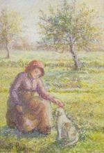 PISSARRO, HUGHES CLAUDE - A Girl and Her Dog