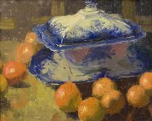 MUNDY, CHARLES W. - Flo Blue Platter and Tureen with Oranges