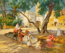 BRIDGMAN, FREDERICK ARTHUR - A View of an Algerian Village