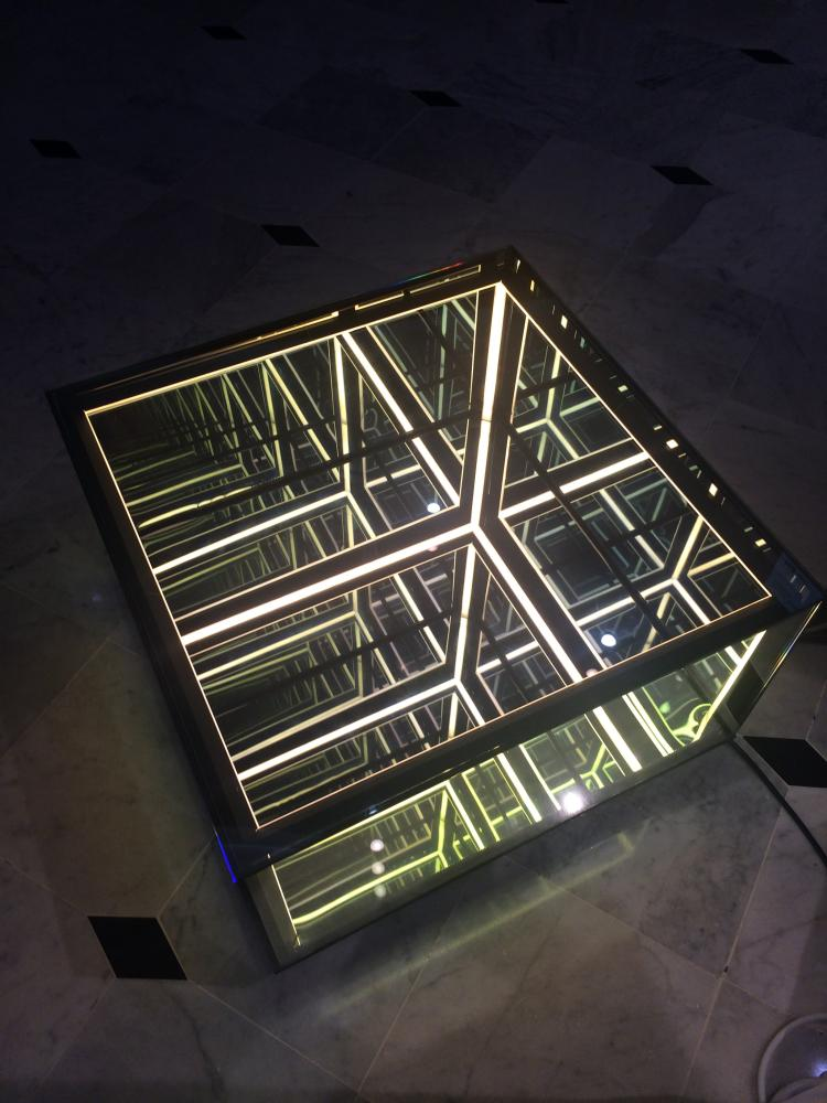 Membrane Half Cube Spy Mirror Sculpture Coffee Table Infin