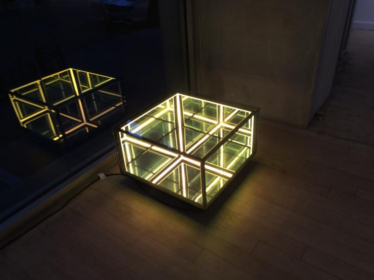 Membrane Half Cube -Spy Mirror Sculpture/ Coffee Table Infinity Perspective