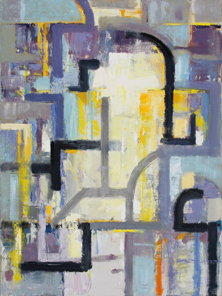 Luminous Portal - Large Abstract Contemporary Oil Painting