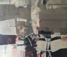 Sunday Service - Large Horizontal Soft Grey Abstract Oil Painting