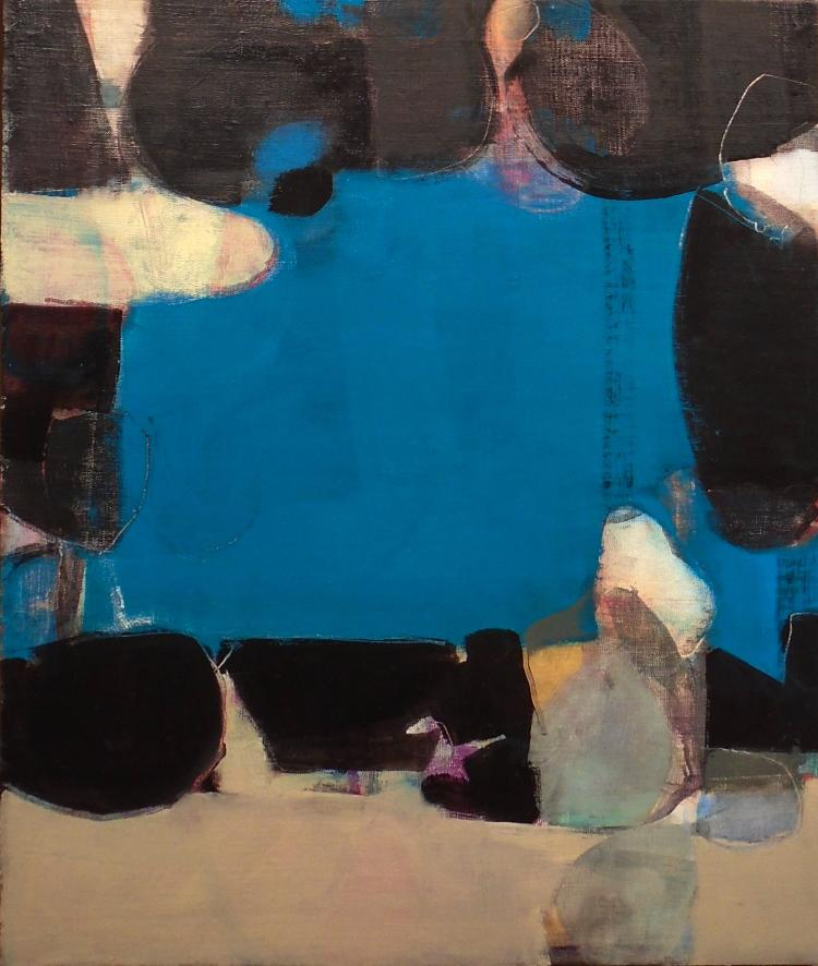 Street Wreck - Small Contemporary Abstract Black, Blue, Beige Oil Painting