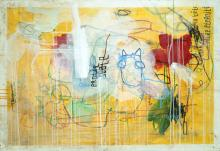 Erotic Scale - Large Yellow Post Graffiti Urban Contemporary Painting