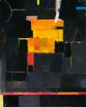 Fragment of a Song - Large Black and Yellow Abstract Contemporary Oil Painting