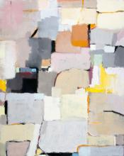 Love in a Small town- Beige and Pastel White Abstract Contemporary Oil Painting