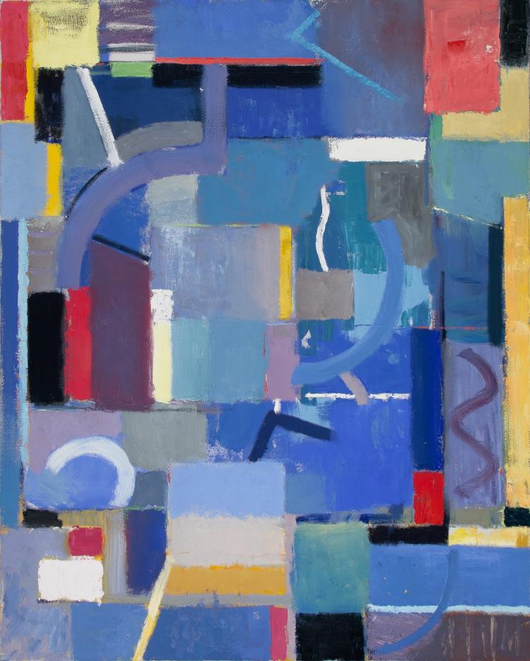 Night Song - Large Colorful Blue Dominant Abstract Contemporary Oil Painting