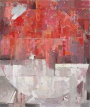 Blood Moon - White and Red Large Abstract Contemporary Oil painting