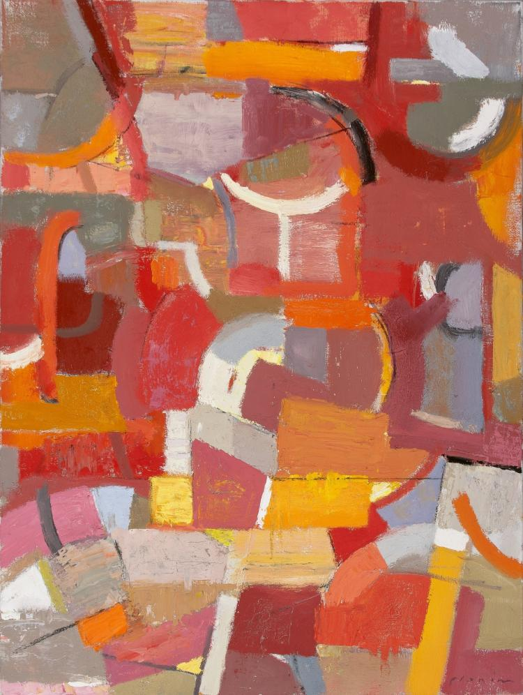 Everybody's Talking - Colorful Red Orange Large Abstract Contemporary Oil Painting