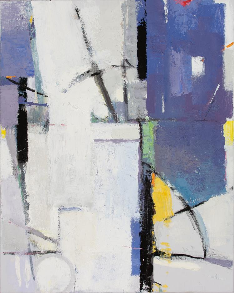 First Snow - Small White and Purple Abstract Contemporary Oil Painting