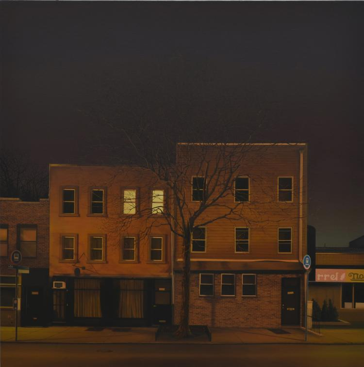 The Midnight Friend - Hyper Realistic Oil Painting of Urban Landscape