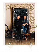 Colour Photograph of Waylon Jennings and Neil Diamond with Inscription