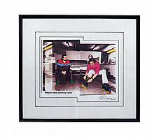 Photograph of Waylon Jennings and Johnny Cash Rollerskating