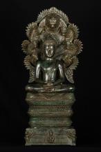 19th Century Khmer Muchalinda Naga Buddha