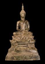 19th Century Laos Meditating Enthroned Buddha