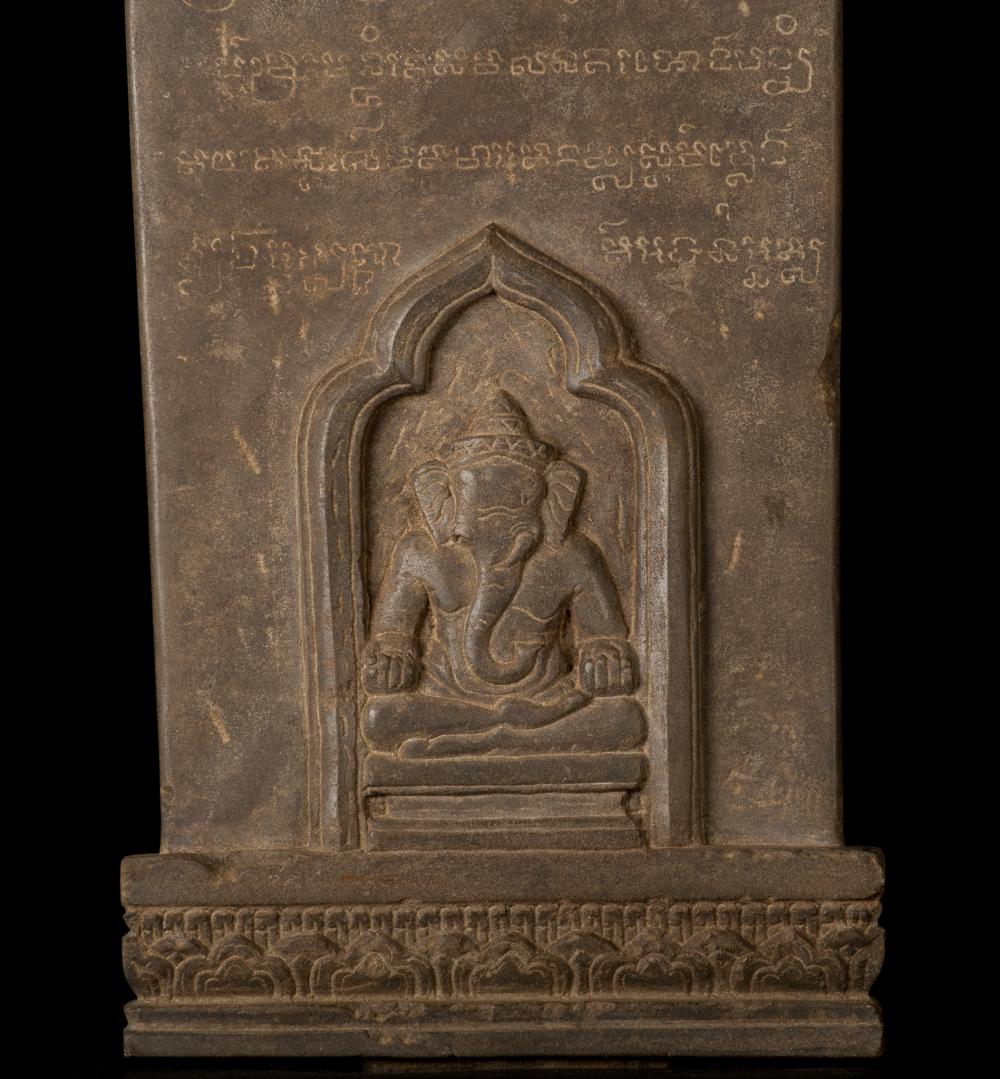 12th 13th century angkor stele ganesha & teaching buddha sta
