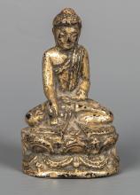 Antique 19th Century Burmese Seated Mandalay Gold Gilt Buddha