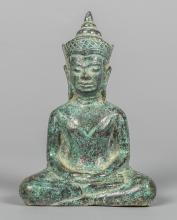 Seated Khmer Bronze Buddha in Meditation Mudra