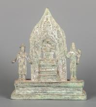 Bayon Style Bronze Buddhist Triad