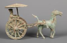 Bronze Chinese Horse & Cart in Han Dynasty Style