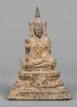 Bronze Enthroned 18th Century Seated Ayutthaya style Buddha